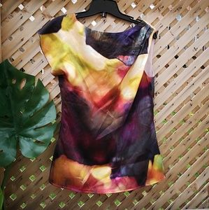 escada Tops - Escada Sport silk blouse ruffle euc 34 multicolour